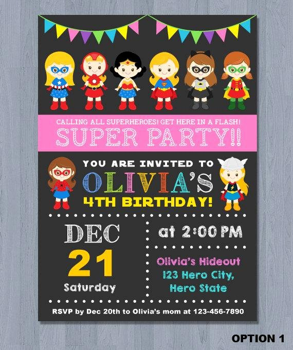 Girl Superhero Birthday Invitations New Superhero Girl Invitation Superhero Girl Birthday by Kidzparty
