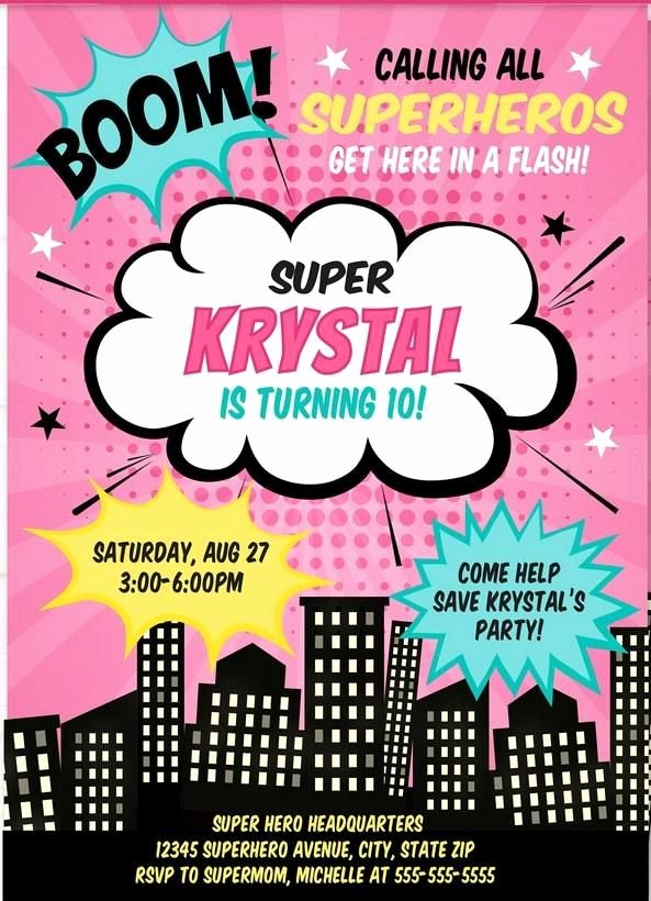 Girl Superhero Birthday Invitations Unique Free Printable Girl Superhero Invitation