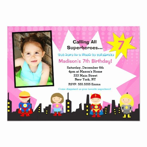 Girl Superhero Birthday Invitations Unique Girl Superhero Birthday Party Invitations