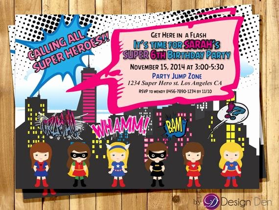 Girl Superhero Birthday Invitations Unique Super Hero Girls Birthday Party Invitations Calling All