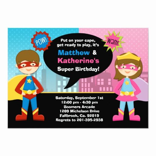 Girl Superhero Birthday Invitations Unique Superhero and Super Girl Birthday Party Invitation