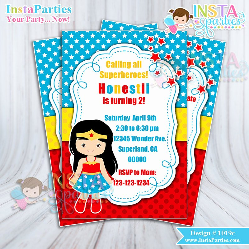 Girl Superhero Birthday Invitations Unique Wonder Woman Invitations Superhero Girl Invitation