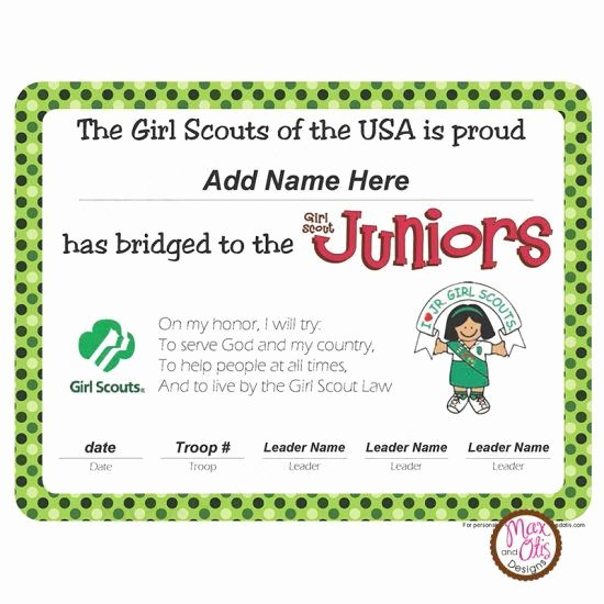 Girls Scout Bridging Certificates Best Of Girl Scout Printable Bridging Certificate for Brownies to Juniors $5 00 Girlscouts