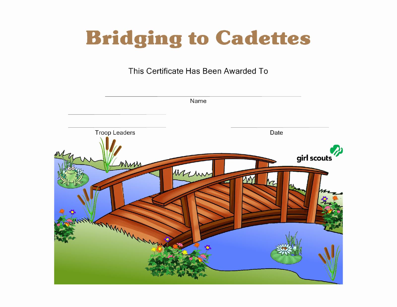Girls Scout Bridging Certificates Elegant Girl Scout Printables Bridging to Cadettes Certificate