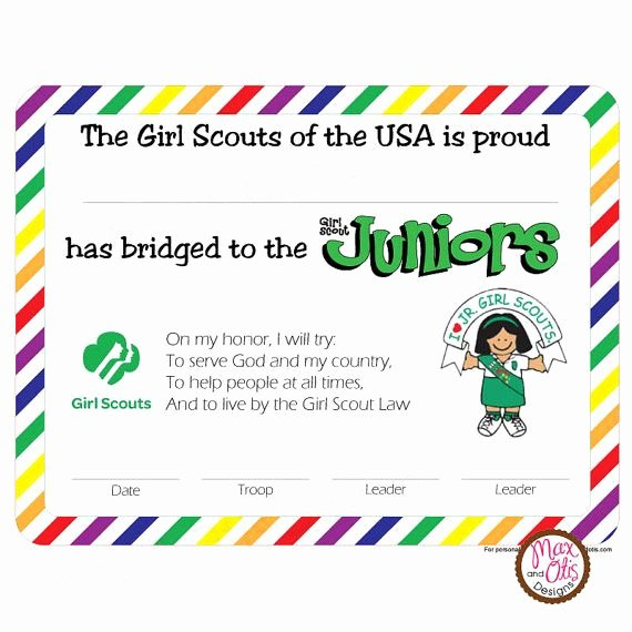 Girls Scout Bridging Certificates Fresh Girl Scout Bridge to Juniors Certificate Rainbow Border Girl Scouts Pinterest