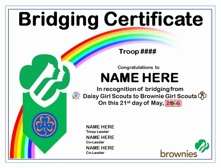 Girls Scout Bridging Certificates Lovely Girl Scout Bridging Certificate Example originally Created In Powerpoint Each Scouting Level