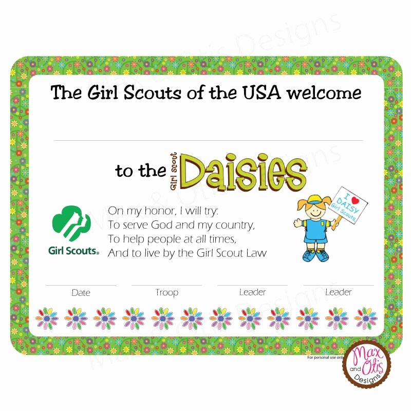 Girls Scout Bridging Certificates Lovely Girl Scout Daisy Printable Investiture Certificate Editable Pdf – Max & Otis Designs