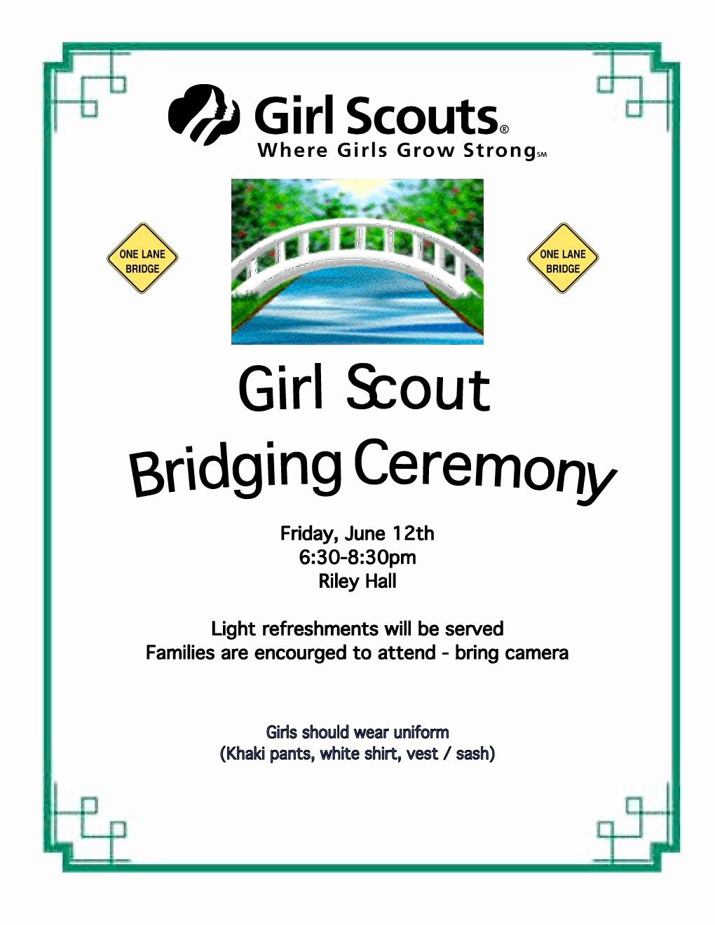 Girls Scout Bridging Certificates Luxury Bridging Ceremony Hanover Girl Scouts Ideas for Girl Scouts Pinterest