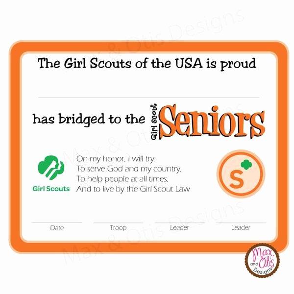 Girls Scout Bridging Certificates Luxury Girl Scout Senior Printable Bridging Certificate Editable Pdf – Max & Otis Designs