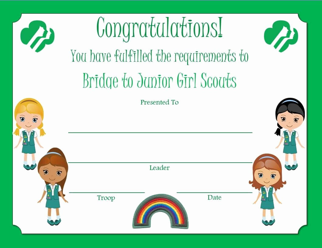 Girls Scout Bridging Certificates New Brownie Bridge to Junior Award Certificate Media Cache Ak0 Pinimg originals 4e 86