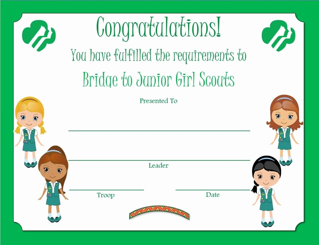 Girls Scout Bridging Certificates Unique Brownie Bridge to Junior Award Certificate Revised Junior Girl Scouts