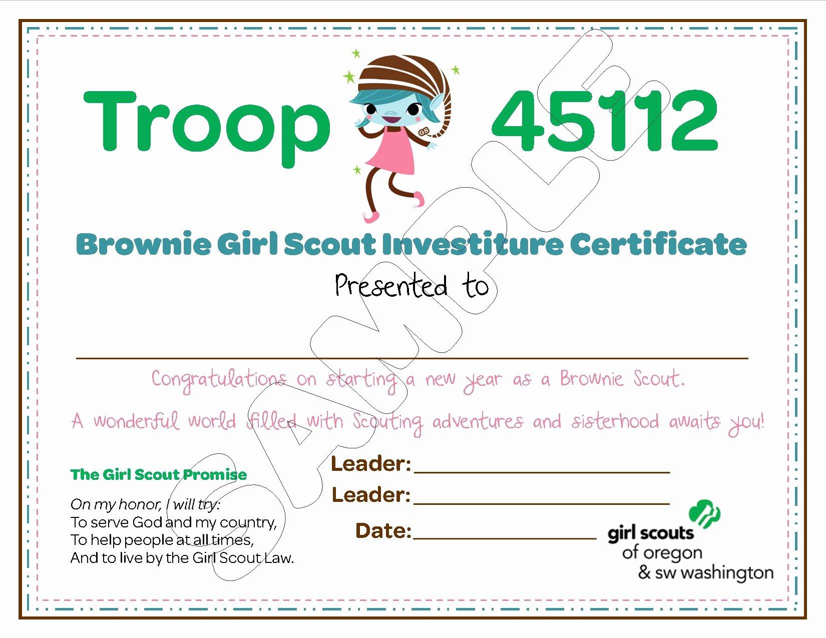 Girls Scout Bridging Certificates Unique Brownie Troop Investiture