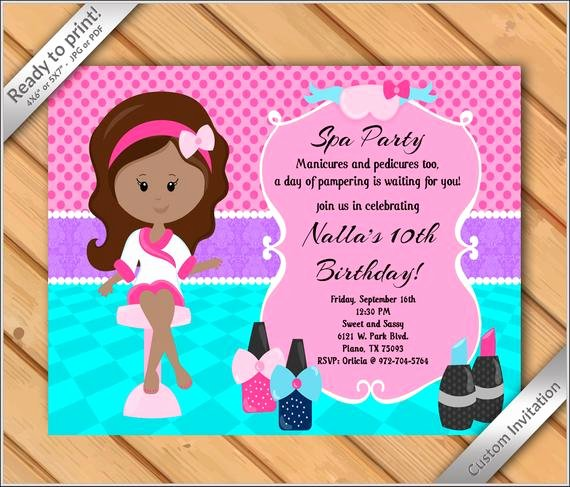 Girls Spa Party Invitations Awesome Off Sale Spa Party Invitations for Girls Makeover or Manicure Pedicure Birthday Party
