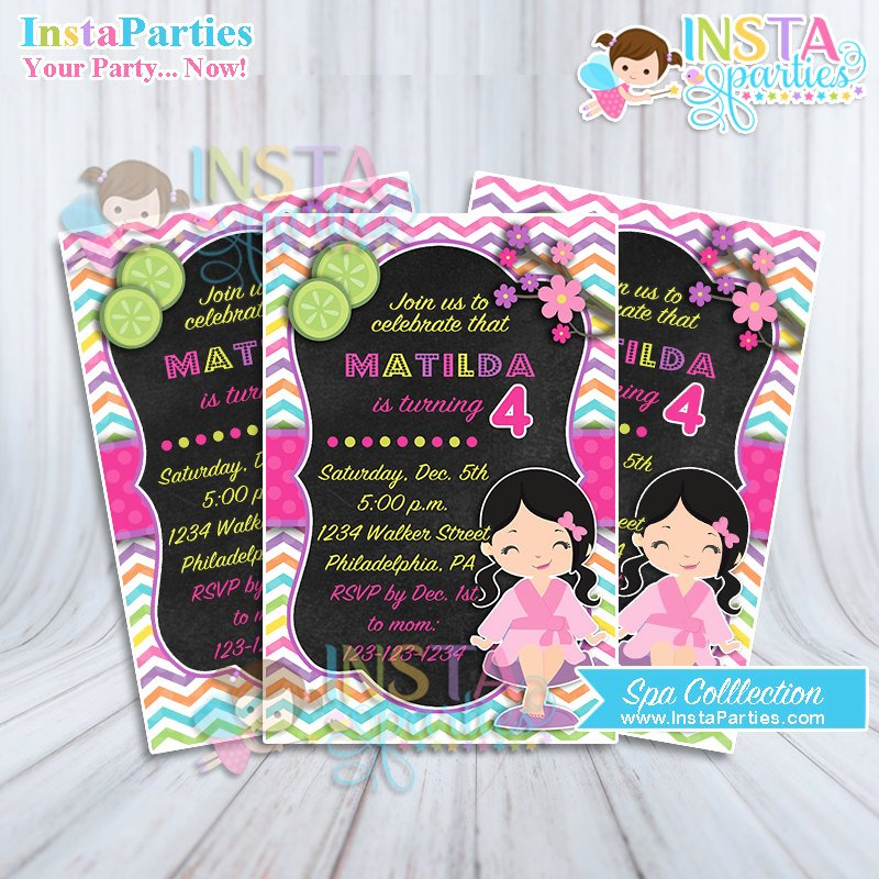 Girls Spa Party Invitations Awesome Spa Party Invitations Little Girl Pink Birthday Invitation Digital Printable File 4×6 Turquoise