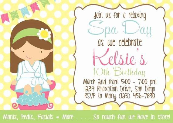 Girls Spa Party Invitations Beautiful Spa Day Invitation Girl Birthday Party Printable