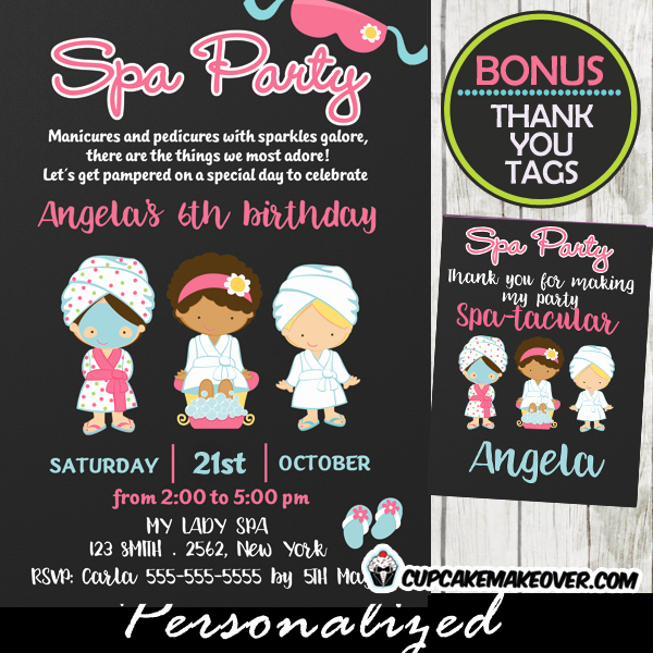 Girls Spa Party Invitations Best Of Girls Spa Party Invitations Chalkboard Personalized Cupcakemakeover