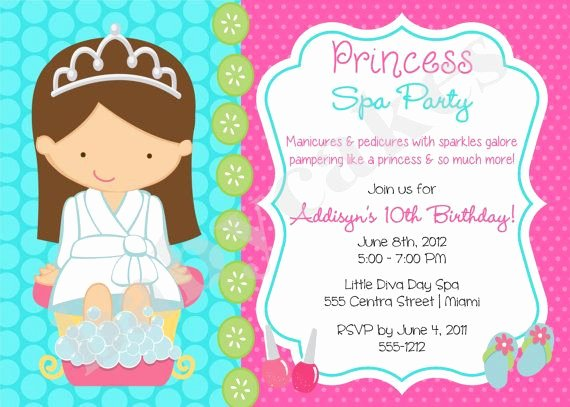 Girls Spa Party Invitations Best Of Princess Spa Party Invitation Princess Spa Day Princess Spa Party Birthday Party Invitation