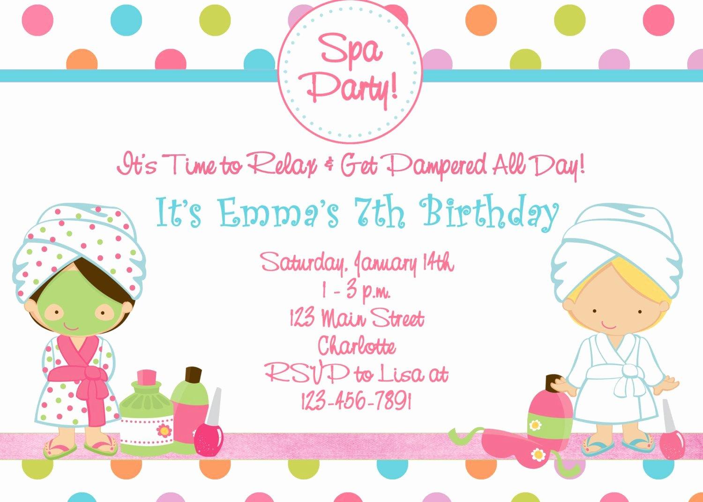 Girls Spa Party Invitations Elegant Free Printable Spa Birthday Party Invitations Spa at Home