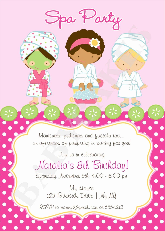 Girls Spa Party Invitations Elegant Spa Party Invitation