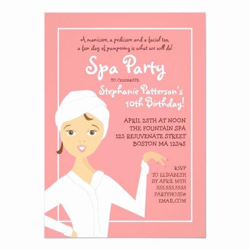Girls Spa Party Invitations Fresh Fun Spa Girl Birthday Spa Party Invitation Pink