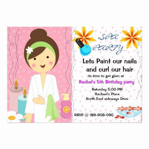 Girls Spa Party Invitations Inspirational Spa Party Girls Birthday Invitation 13 Cm X 18 Cm Invitation Card