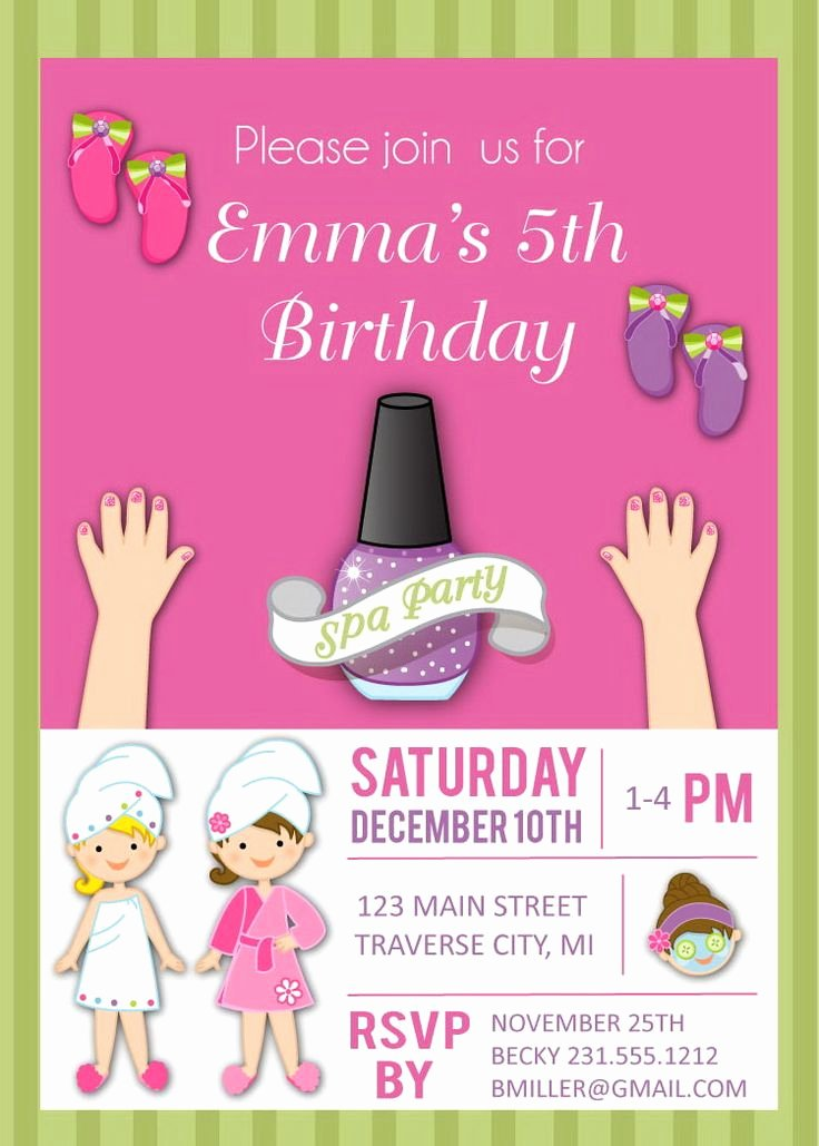 Girls Spa Party Invitations Lovely 17 Best Images About Birthday Party Invitations On Pinterest