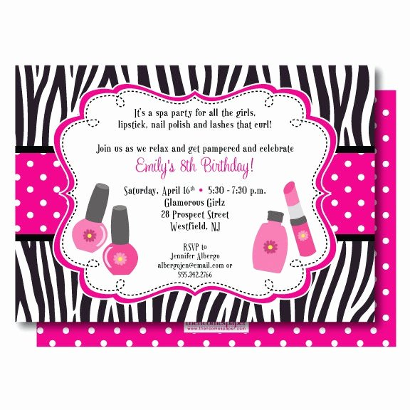 Girls Spa Party Invitations Lovely Glamour Spa Party Birthday Invitation Zebra and Hot Pink