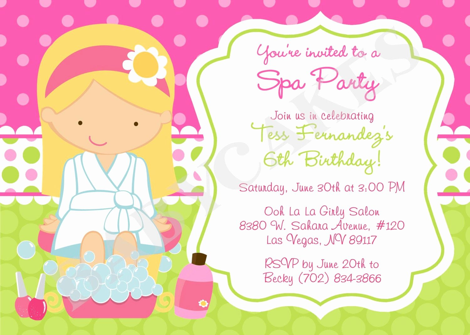Girls Spa Party Invitations Luxury Spa Party Birthday Invitation Invite Spa Birthday by Jcbabycakes