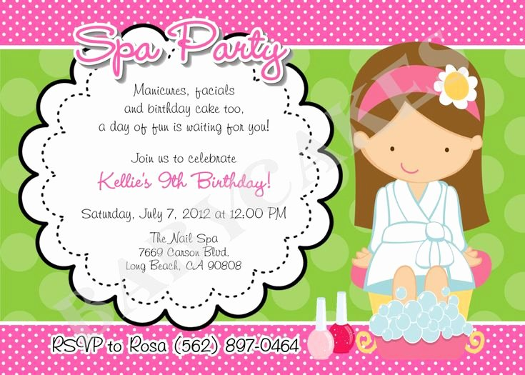 Girls Spa Party Invitations Unique Birthday Invitations Exciting Spa Party Invitation Design Idea with Beautiful Girl Green White