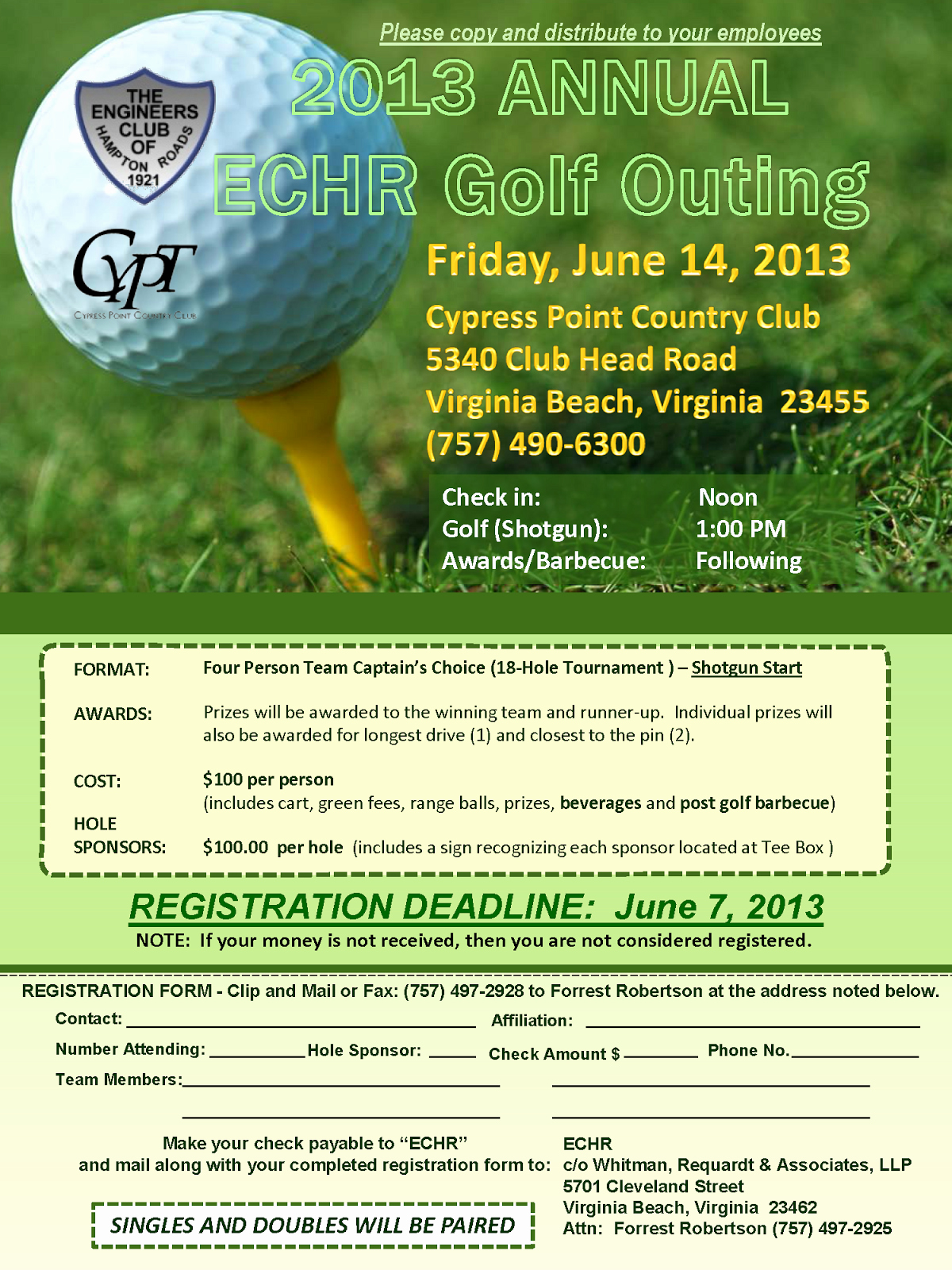 Golf Outing Flyer Template Best Of Tidewater Chapter Vspe 2013 Annual Echr Golf Outing