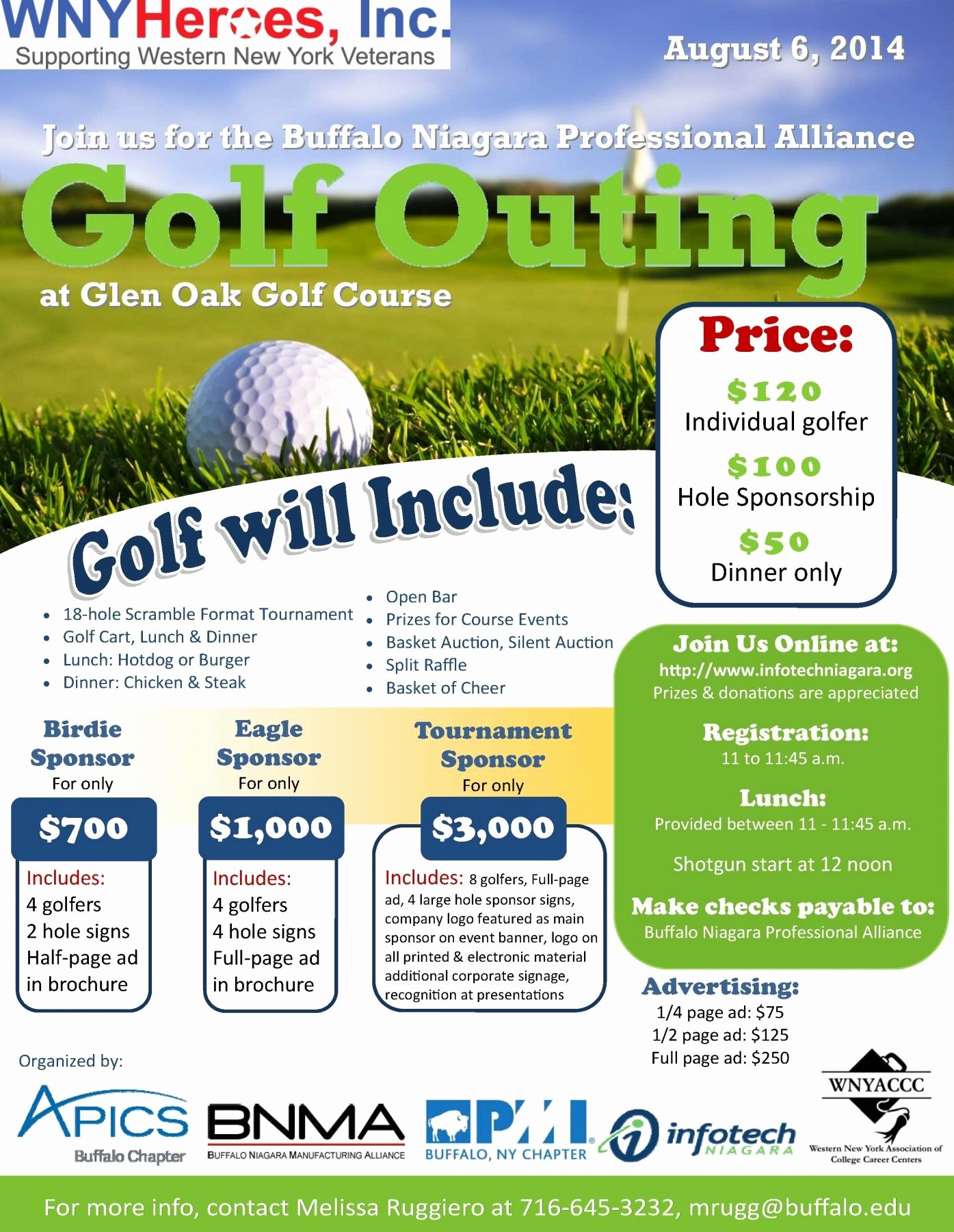 Golf Outing Flyer Template Fresh Wny Heroes Inc Golf tournament Glen Oak Flyer Ideas Templates