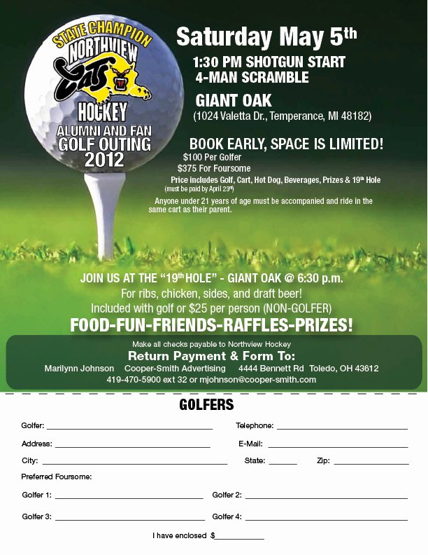 Golf Outing Flyer Template Luxury 2012 northview Golf Outing Signup Flyer Lo