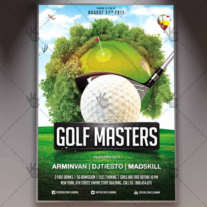 Golf tournament Flyer Template Elegant Golf Masters Premium Flyer Psd Template