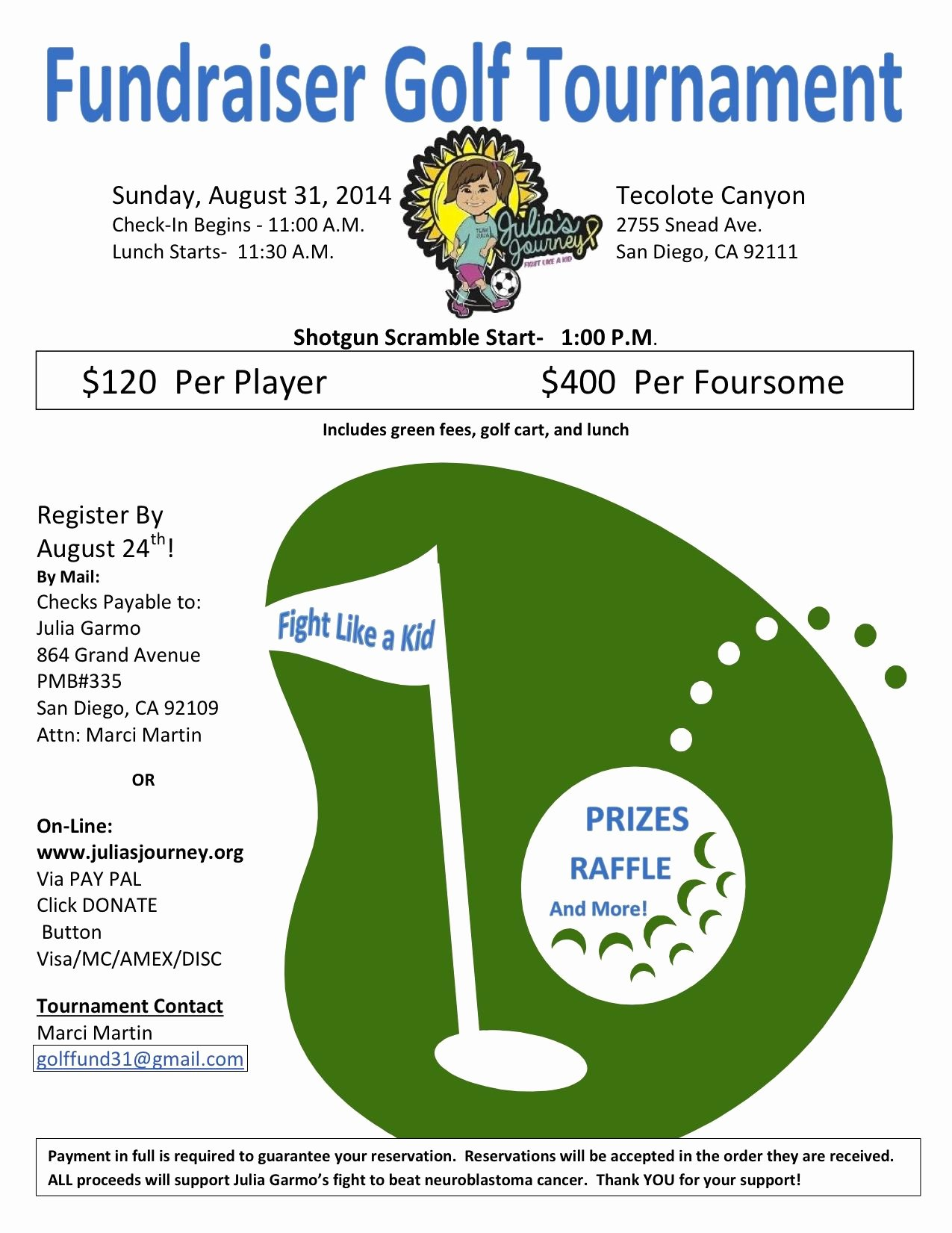 Golf tournament Flyer Template Luxury Julia S Journey Golf tournament Flyer 8 31 14 Golf Fundraiser Pinterest