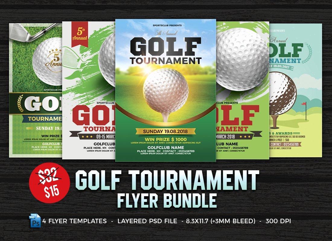 Golf tournament Flyer Templates Best Of Golf tournament Flyer Bundle Flyer Templates Creative Market