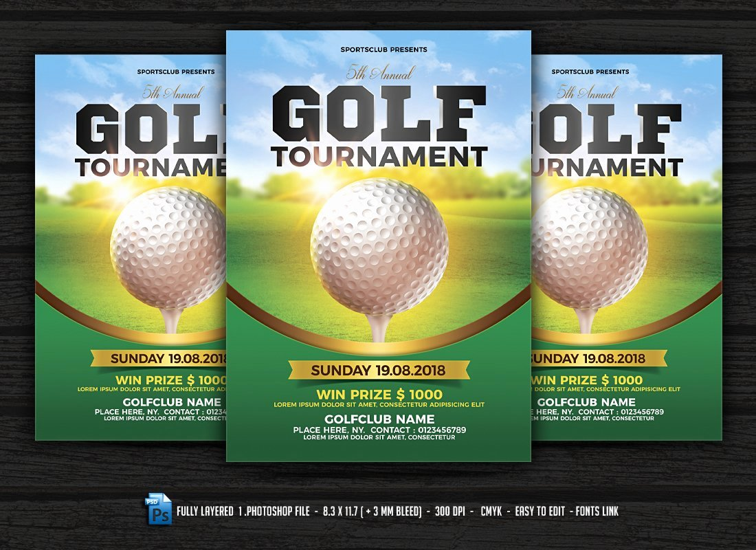 Golf tournament Flyer Templates Elegant Golf tournament Flyer Flyer Templates Creative Market