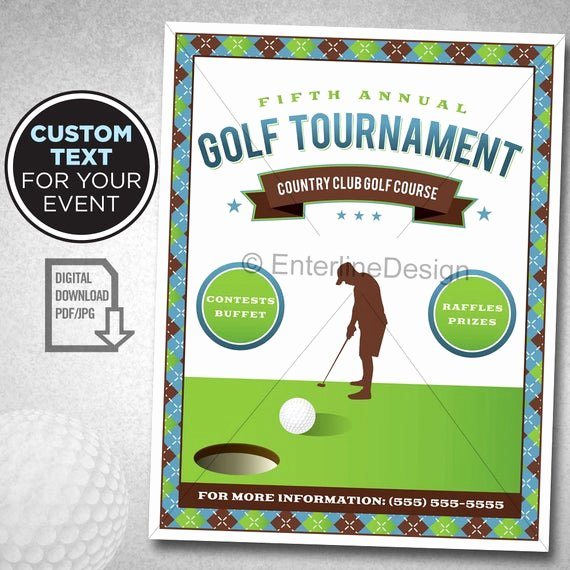 Golf tournament Flyer Templates Elegant Golf tournament Flyer Poster Template Invitation Custom
