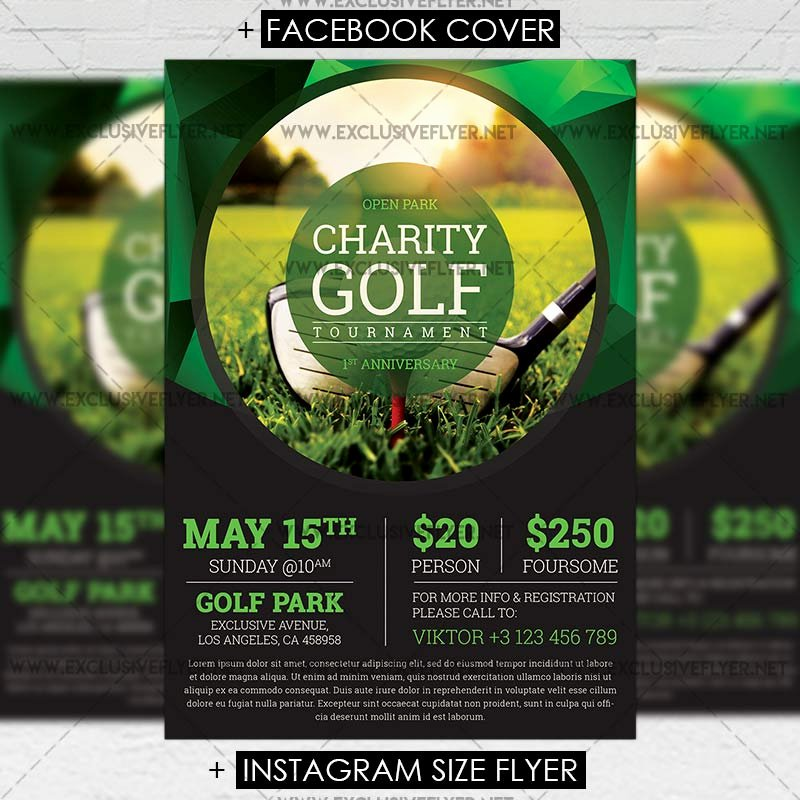 Golf tournament Flyers Template Lovely Golf tournament – Premium A5 Flyer Template
