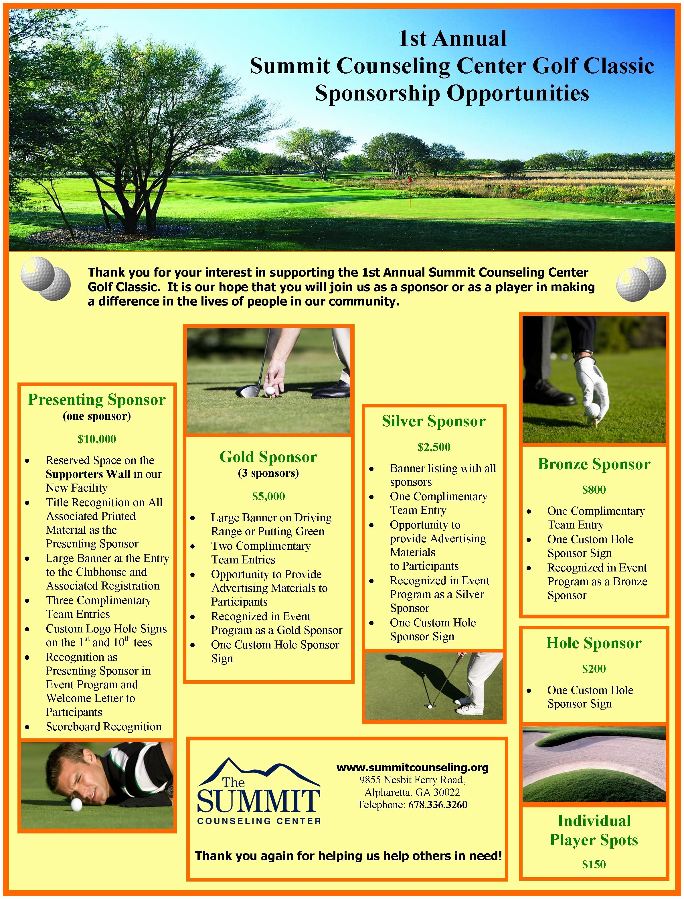 Golf tournament Fundraiser Flyer Best Of Summit Counseling Center Annual Golf tournament Fundraiser Brochure Brochures