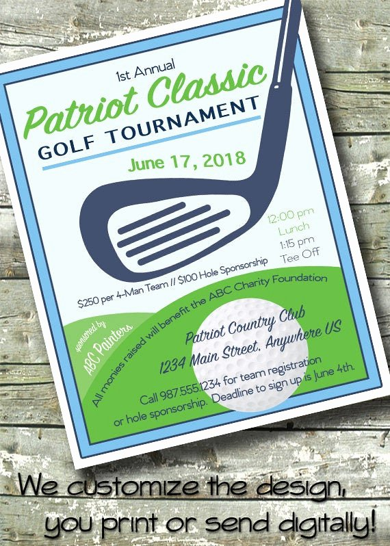 Golf tournament Fundraiser Flyer Elegant Golf tournament Flyer event Fundraiser 5x7 Invite 8 5x11