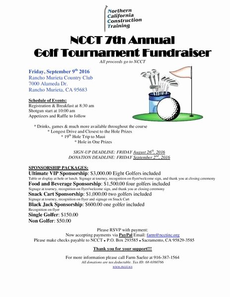Golf tournament Fundraiser Flyer Inspirational Ncct