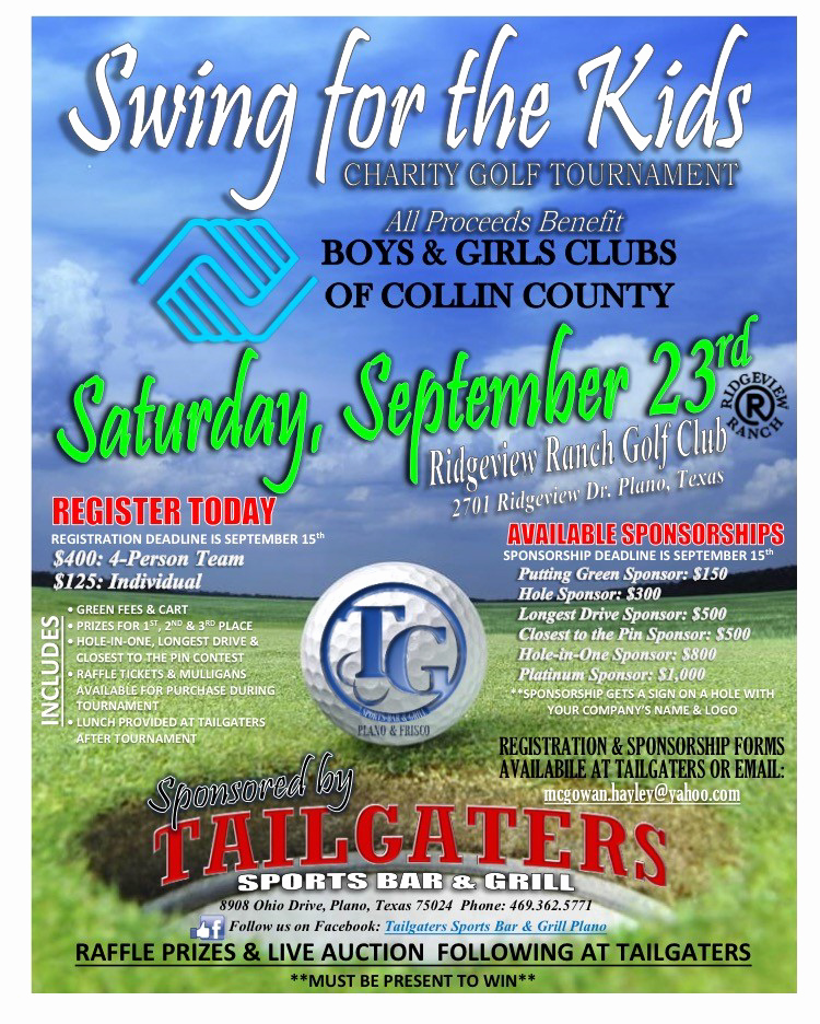 Golf tournament Fundraiser Flyer Inspirational Swing for the Kids Charity Golf tournament Boys & Girls Clubs Of Collin County