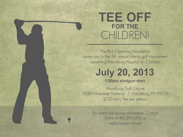 Golf tournament Invitation Template Free Beautiful Charity Fundraiser Invitations Rustic Green Golf tournament Charity Fundraiser