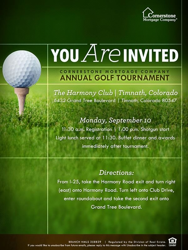Golf tournament Invitation Template Free Inspirational This Was Collateral for Cornerstone S Colorado Branch they Host An Annual Golf event within the