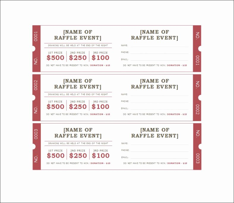 Google Docs Raffle Ticket Template Unique Free Printable Raffle Tickets with Stubs Free Download