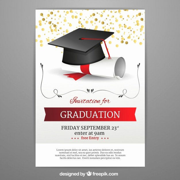 Graduation Invitation Templates Free Download Lovely Graduation Invitation Template In Realistic Style Vector