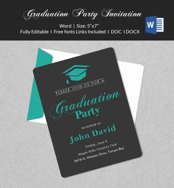 Graduation Invitation Templates Free Download New 50 Microsoft Invitation Templates Free Samples Examples & format Download