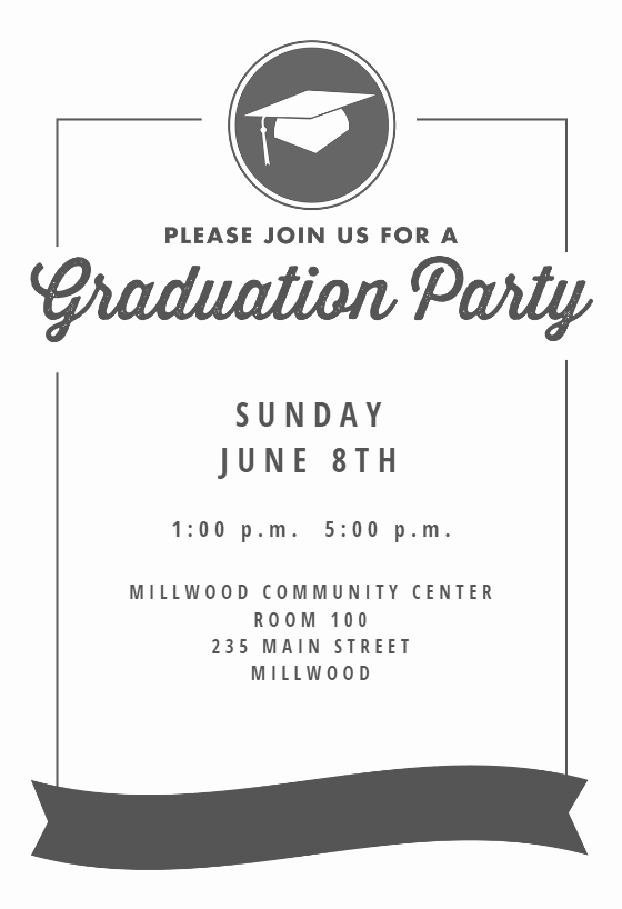 Graduation Invitation Templates Free Download Unique Ribbon Graduation Graduation Party Invitation Template Free