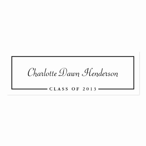 Graduation Name Card Template New Graduation Announcement Name Card Border Class Of Pack Skinny Business Cards