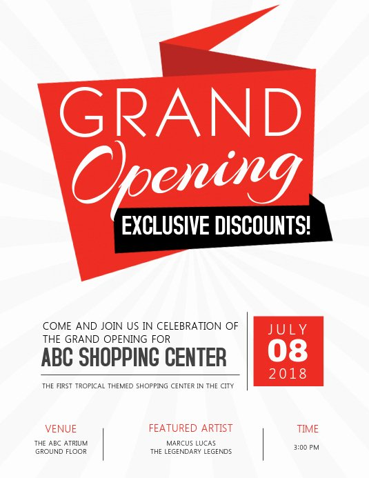 Grand Opening Flyer Template Free Fresh Grand Opening Flyer Template